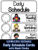COMPLETELY EDITABLE Class Schedule Cards with Blank Clocks