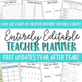 Editable Teacher Planner 2017-2018- Polka Dot
