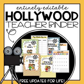 Editable Teacher Planner 2016-2017- Hollywood Theme