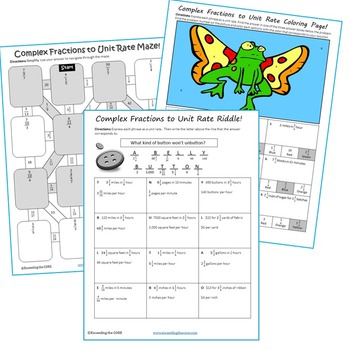 COMPLEX FRACTIONS to UNIT RATE Maze, Riddle, Coloring Page (Fun MATH Activities)