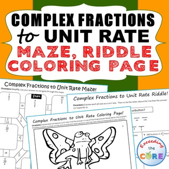 COMPLEX FRACTIONS to UNIT RATE Maze, Riddle, Coloring Page