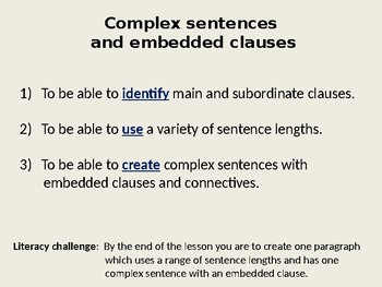 COMPLEX SENTENCES WITH EMBEDDED CLAUSES POWERPOINT