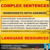 COMPLEX SENTENCE: 14 WORKSHEETS WITH ANSWERS