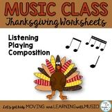 Music Class November Composing and Rhythm Activities K-6 No Prep Worksheets