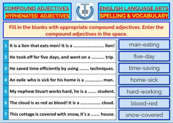 COMPOUND ADJECTIVES: WORKSHEETS WITH ANSWERS