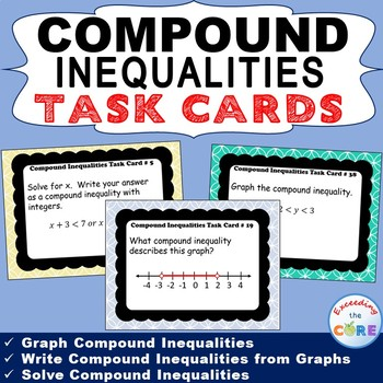 COMPOUND INEQUALITIES - Task Cards {40 Cards}