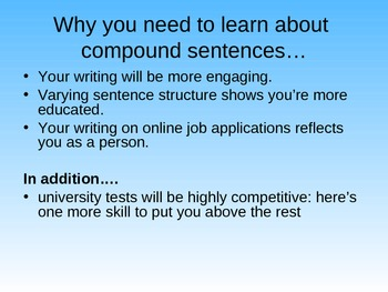 COMPOUND SENTENCE INTRODUCTION POWERPOINT