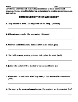 COMPOUND SENTENCES (GRADES 3 - 4)