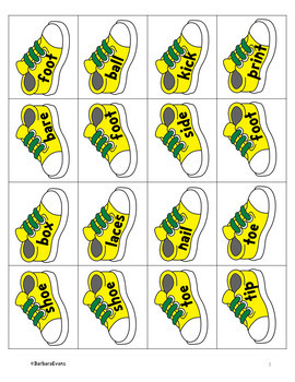 COMPOUND WORDS Literacy Center  Compound Words Activity  Shoes Theme