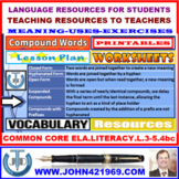 COMPOUND WORDS: LESSON, LISTS AND WORKSHEETS