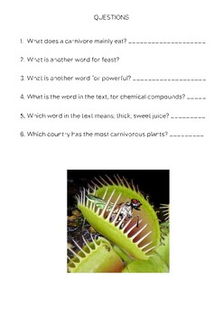 COMPREHENSION CARDS-Carnivorous Plants