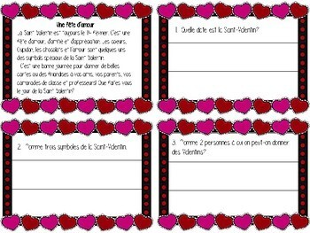 COMPRÉHENSION DE LECTURE - SAINT-VALENTIN - FRENCH - FSL - FLE
