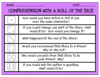 COMPREHENSION WITH A ROLL OF THE DICE