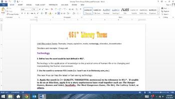 COMPREHENSIVE Fahrenheit 451 Unit: Aligns with Common Core