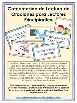 COMPRENSIÓN DE LECTURA DE ORACIONES PARA LECTORES PRINCIPIANTES.
