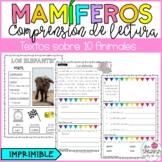 COMPRENSIÓN DE LECTURA MAMÍFEROS/ READING COMPREHENSION PASSAGES