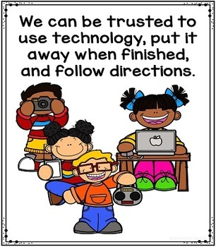 Computer Lab Rules Posters Labels Charts and Decor for Primary Grades