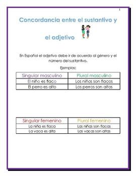 CONCORDANCIA ENTRE EL ADJETIVO CON EL GENERO Y EL NUMERO Y EL SUSTANTIVO