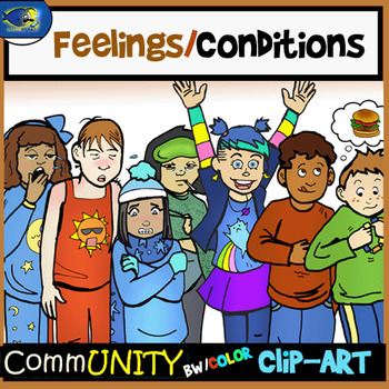 CONDITIONS Emotions CommUNITY Clip-Art Bundle-14 Pieces BW/Color