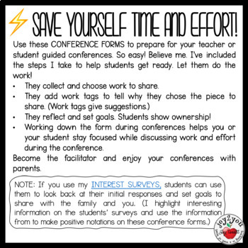 CONFERENCE FORMS–SCIENCE–students evaluate their performance and set goals
