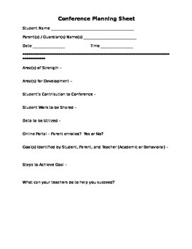 CONFERENCE PLANNING SHEET