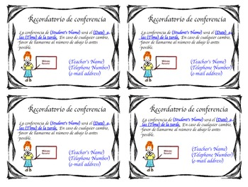 CONFERENCE REMINDERS (SPANISH)