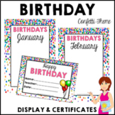 CONFETTI Birthday Bulletin Board Display Fully Editable