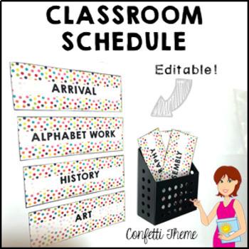 CONFETTI Classroom Decor Class Schedule