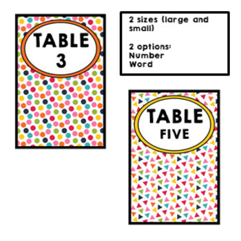 CONFETTI Classroom Decor Table Signs