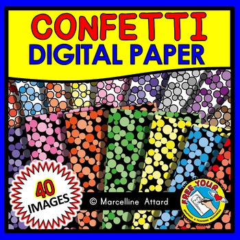 CONFETTI DIGITAL PAPER BACKGROUNDS POLKA DOTS