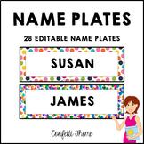 Editable Name Plates Confetti Dots Classroom Decor