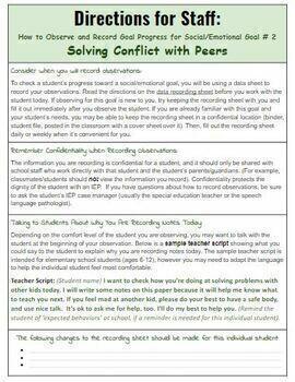 CONFLICT RESOLUTION: Social Skills IEP Goals, Data Sheets, (Preschool-5th grade)
