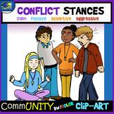 CONFLICT STANCES Emotions CommUNITY Clip-Art Bundle-8 Pieces BW/Color