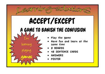 COMMONLY CONFUSED WORDS - GAME accept-except