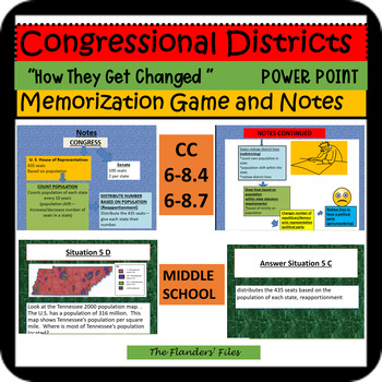 CONGRESSIONAL DISTRICTS--HOW DO THEY CHANGE? POWER POINT GAME AND NOTES