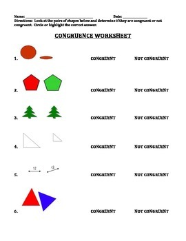 CONGRUENT: STUDY GUIDE, WORKSHEET, AND TEST (GRADES 3 - 5)