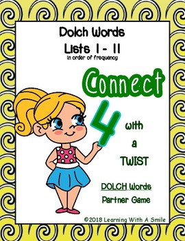 CONNECT 4 WITH A TWIST Partner Game DOLCH WORDS