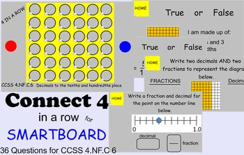CONNECT 4 in a row SMARTBOARD GAME CCSS 4.NF.C.6 Decimals to Hundredths Place