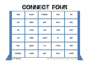 CONNECT FOUR  Sight Word Game *Fully Aligned with 1st Grade REACH FOR READING