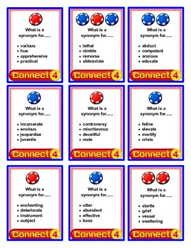 SPEECH THERAPY CONNECT FOUR for SYNONYMS & ANTONYMS BUNDLE