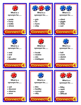 SPEECH THERAPY CONNECT FOUR for SYNONYMS