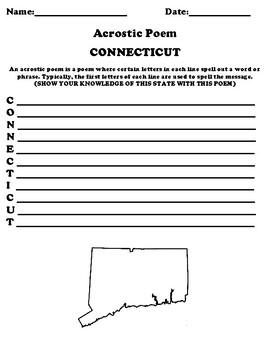 CONNECTICUT Acrostic Poem Worksheet