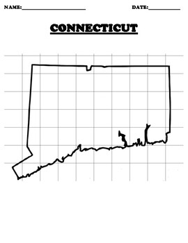 CONNECTICUT Coordinate Grid Map Blank