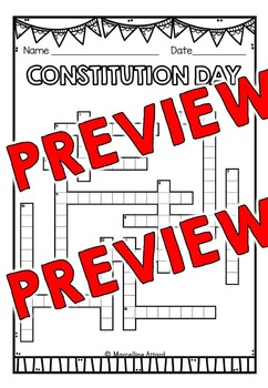 CONSTITUTION DAY ACTIVITIES: CONSTITUTION DAY WORKSHEETS: CROSSWORD PUZZLE