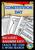 CONSTITUTION DAY ACTIVITY WORKSHEETS WORD SEARCH, CRACK THE CODE PRINTABLES
