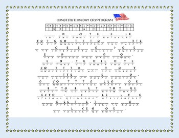 CONSTITUTION DAY CRYPTOGRAM: CELEBRATE SEPTEMBER 17TH