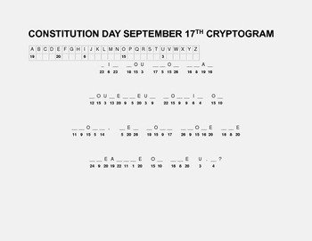 CONSTITUTION DAY CRYPTOGRAM-SEPTEMBER 17TH