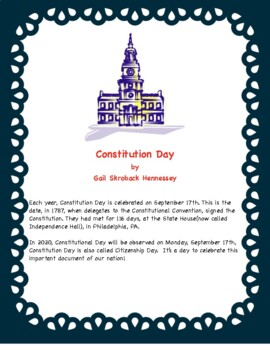 CONSTITUTION DAY! FREEBIE FUN FACTS!