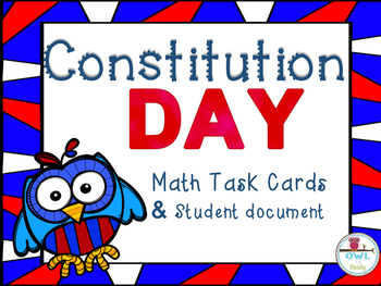 CONSTITUTION DAY MATH TASK CARDS with recording sheet