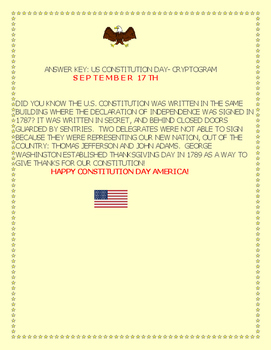 CONSTITUTION DAY-SEPTEMBER 17TH-CRYPTOGRAM:CELEBRATE AMERICA